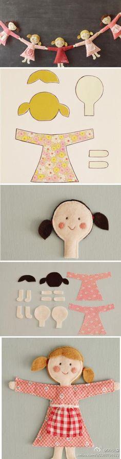 выкройка и шаблон куклы из фетра