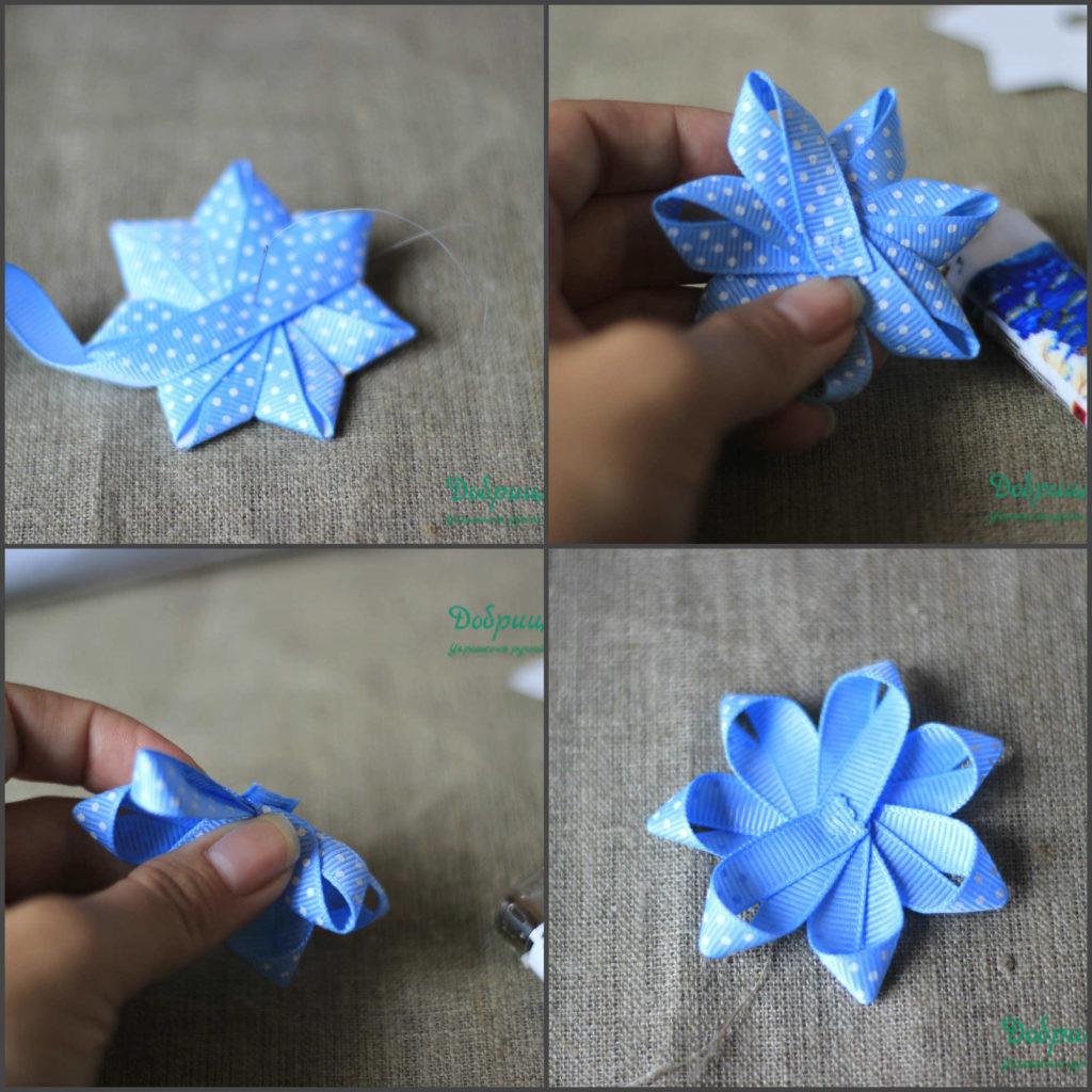 Цветок из банта своими руками 48