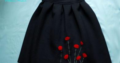 юбка с аппликациями маков34