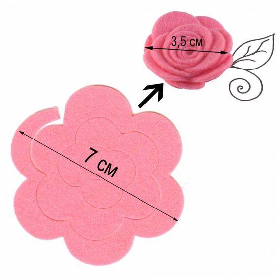 Розы из фетра своими руками схемы шаблоны 75