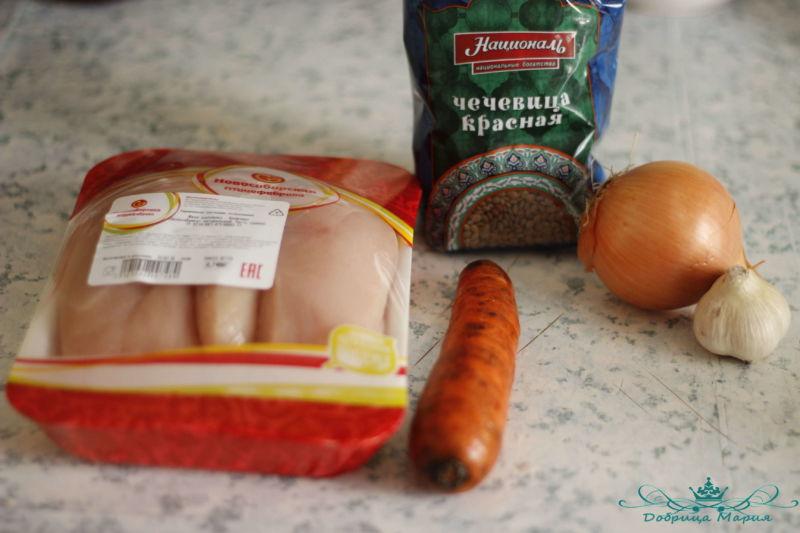 Чечевица тущеная с курицей и овощами