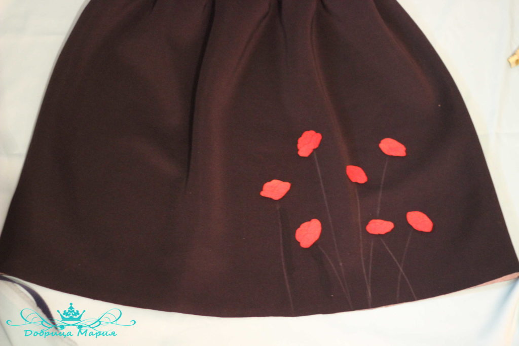 юбка с аппликациями маков24