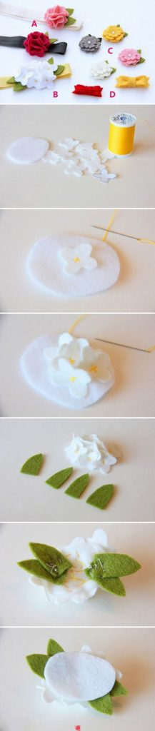 белые цветы из фетра
