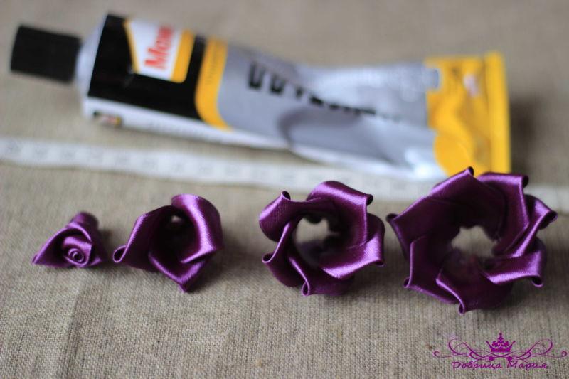 Розы из лент22