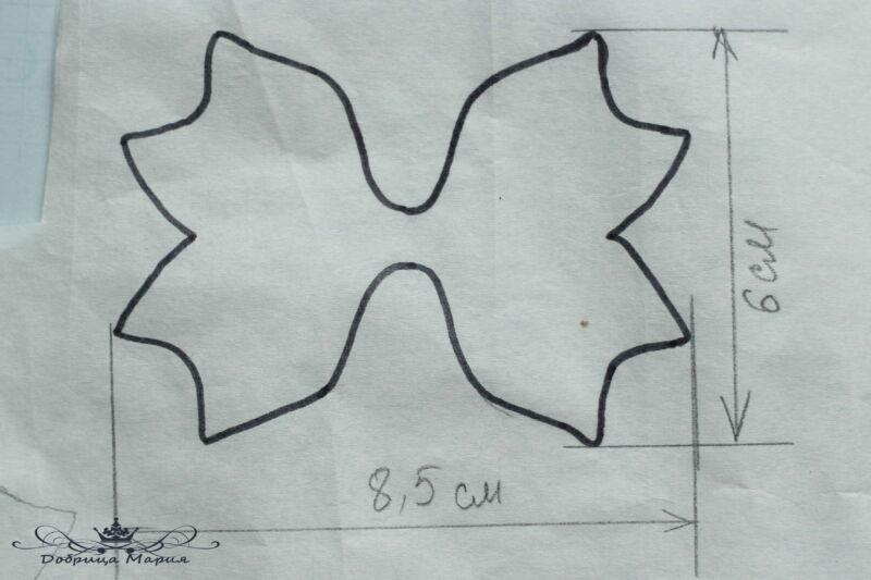 Бантики из глиттерного фоамирана по шаблону трезубец на резинках